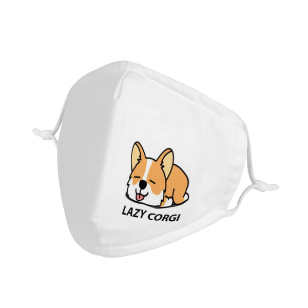 Cute Cartoon Lazy Corgi Puppy Dog Face Mask / CDC Rec Triple Layer Face Mask w/ Anti Dust Protection Filters / Handmade, Reusable, Adorable