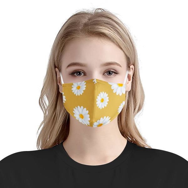 Yellow Daisy Flower Pattern | Soft & Silky Triple Layer Anti Dust Face Mask w/ Nose Wire, Free Filters, Reusable, Handmade