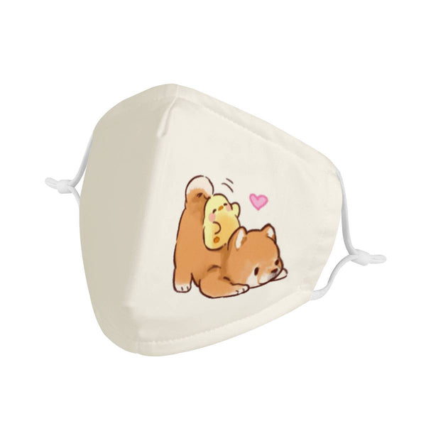 Cute Cartoon Shiba Inu & Chick | Triple Layer Face Mask w/ Anti Dust Filters, Reusable, Cute, Stylish (Handmade)