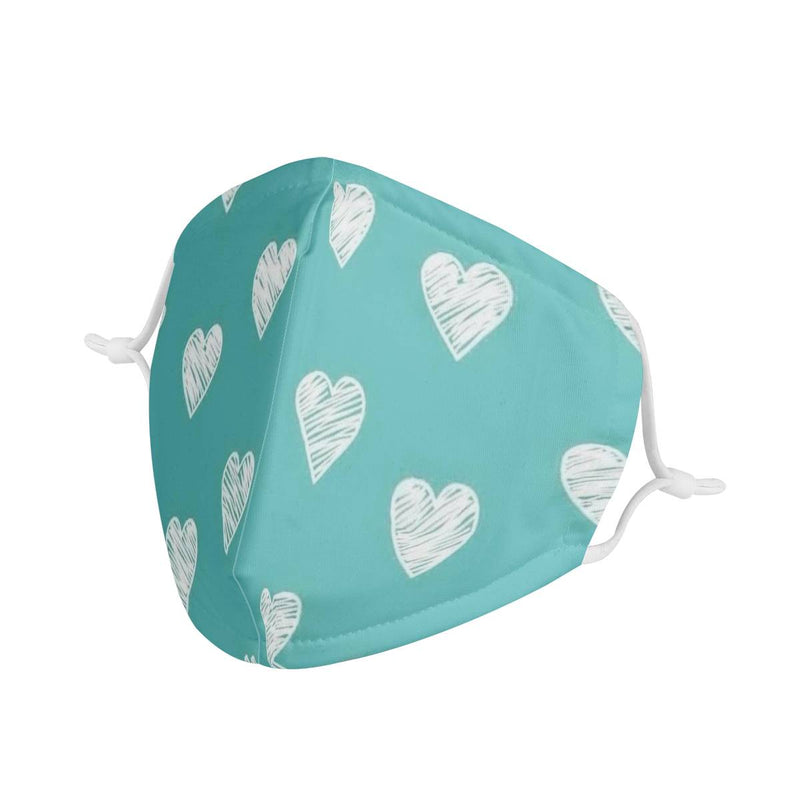 Blue Hearts Pattern | Soft & Silky Triple Layer Anti Dust Face Mask w/ Nose Wire, Free Filters, Reusable, Handmade