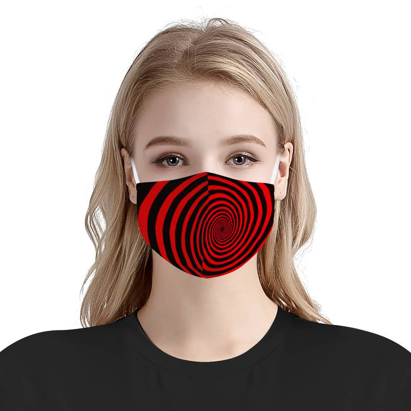 Hypnotic Red Spiral Trance Pattern Trippy | Soft & Silky Triple Layer Anti Dust Face Mask w/ Nose Wire, Free Filters, Reusable, Handmade