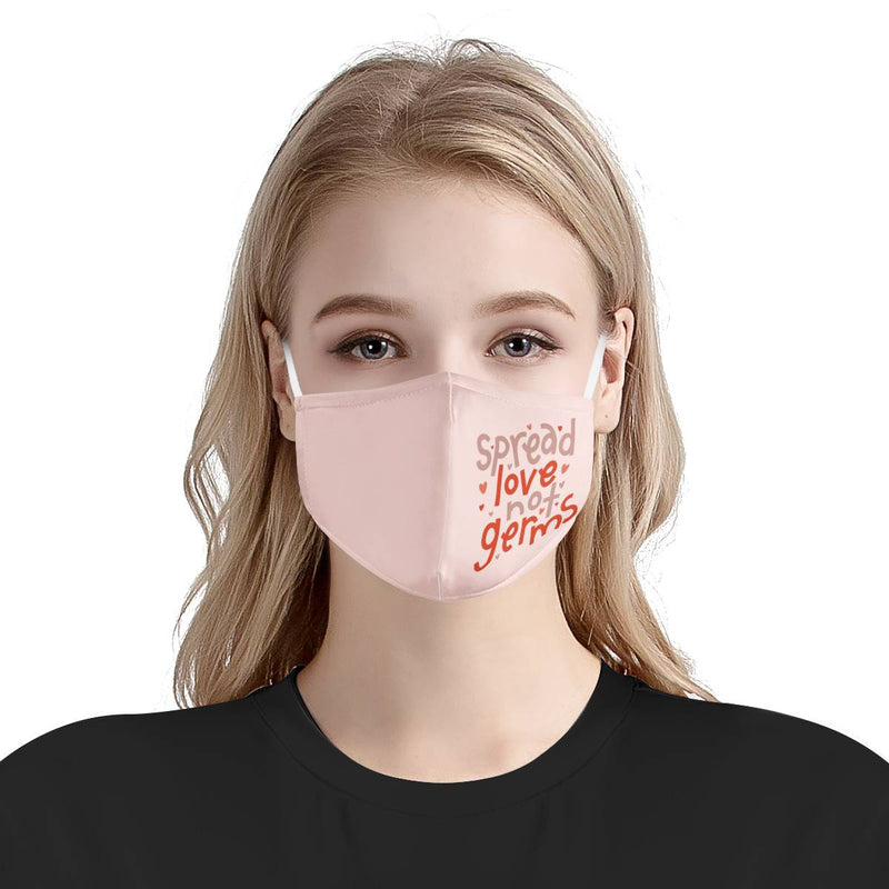Spread Love Not Germs Pink Cute Kindness Mask | Soft & Silky Triple Layer Anti Dust Face Mask w/ Nose Wire, Free Filters, Reusable, Handmade