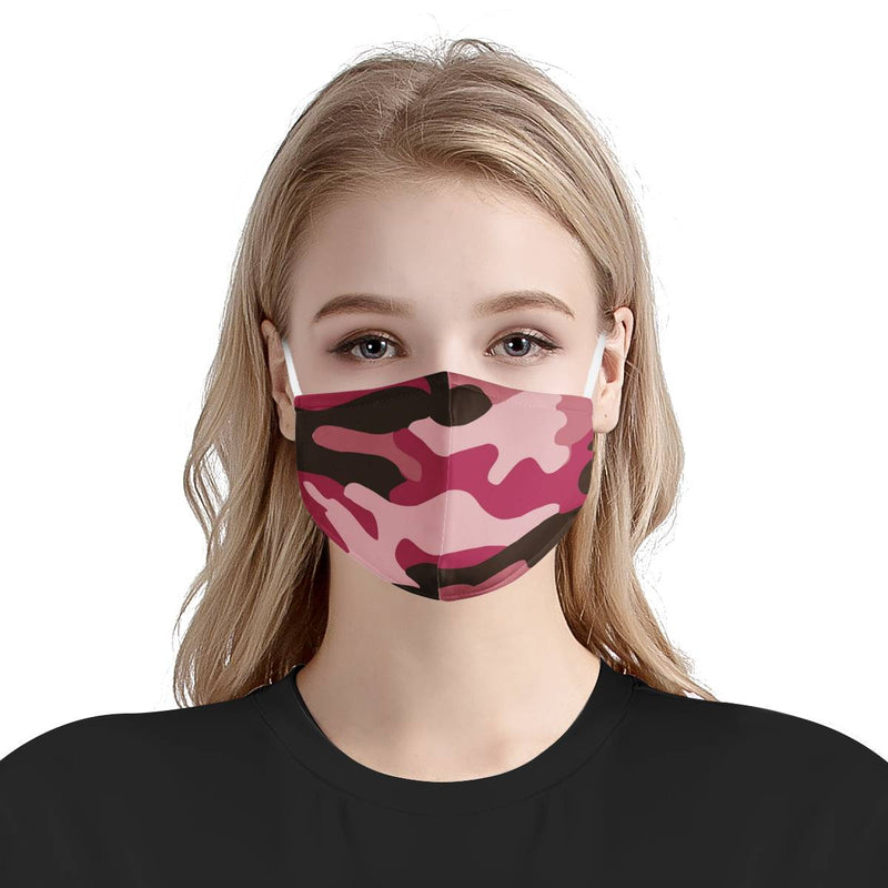 Pink Camo Pattern Print Face Mask | Soft & Silky Triple Layer Anti Dust Face Mask w/ Nose Wire, Free Filters, Reusable, Handmade