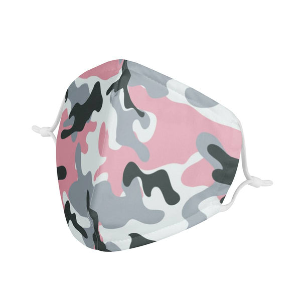Light Nude Pink Camo Pattern Print Face Mask | Soft & Silky Triple Layer Anti Dust Face Mask w/ Nose Wire, Free Filters, Reusable, Handmade