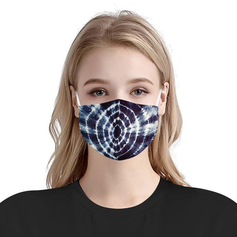 Badass Black Navy Tie Dye Face Mask | Soft & Silky Triple Layer Anti Dust Face Mask w/ Nose Wire, Free Filters, Reusable, Handmade