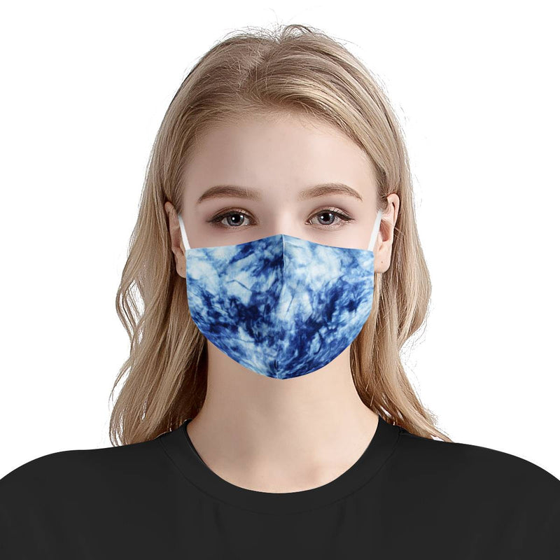 Cute Blue Tie Dye Face Mask | Soft & Silky Triple Layer Anti Dust Face Mask w/ Nose Wire, Free Filters, Reusable, Handmade
