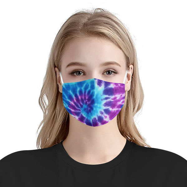 Cute Purple Blue Tie Dye Face Mask | Soft & Silky Triple Layer Anti Dust Face Mask w/ Nose Wire, Free Filters, Reusable, Handmade