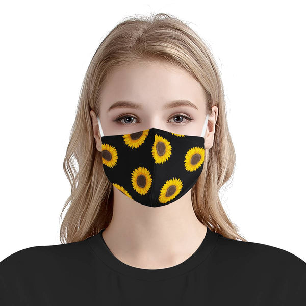 Sunflower Design Floral Face Mask | Soft & Silky Triple Layer Anti Dust Protection Face Mask w/ Free Filters, Reusable, Handmade, Washable