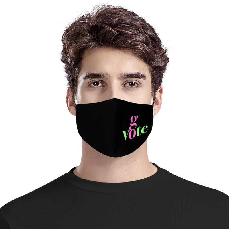GO VOTE 2020 / Fabric, Handmade, Multi Layer w/ Filters, Mouth Face Protective Mask, Reusable, Anti Dust Protection