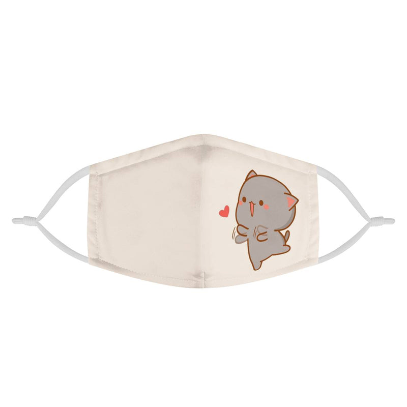 Cute Kitten Cat Heart Graphic | CDC Rec 3 Layer Face Mask w/ Fitted Nose Wire, Anti Dust Filters, Reusable, Adjustable Straps (Handmade)