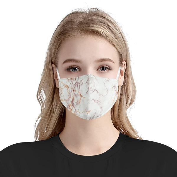 Rose Gold Marble Pattern | CDC Rec 3 Layer Face Mask w/ Fitted Nose Wire, Anti Dust Filters, Reusable, Adjustable Straps (Handmade)