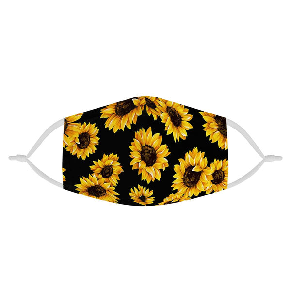 Youth Kids Sunflower Pattern | CDC Rec 3 Layer Face Mask w/ Fitted Nose Wire, Anti Dust Filters, Reusable, Adjustable Straps (Handmade)