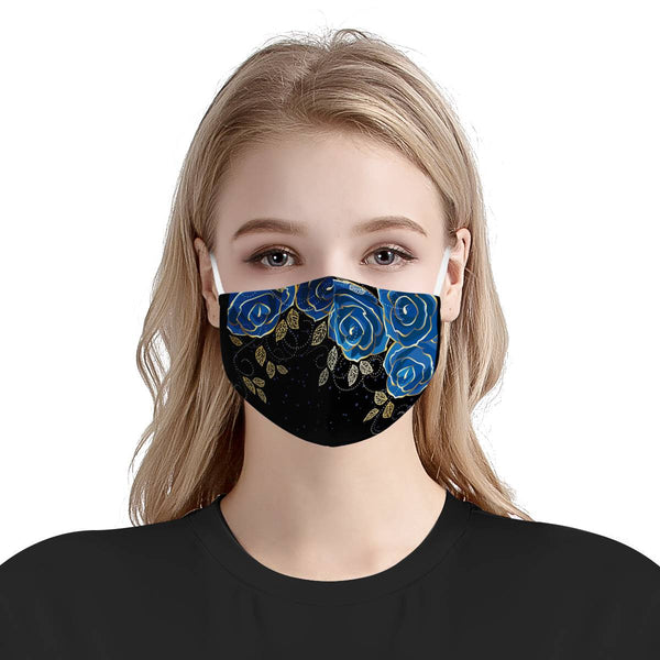 Blue Rose Garden | CDC Rec 3 Layer Face Mask w/ Fitted Nose Wire, Anti Dust Filters, Reusable, Adjustable Straps (Handmade)
