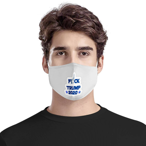 F TRUMP Middle Finger 2020 | CDC Rec 3 Layer Face Mask w/ Fitted Nose Wire, Anti Dust Filters, Reusable, Adjustable Straps (Handmade)