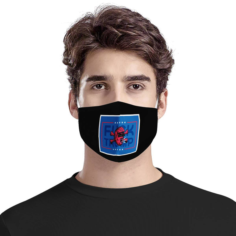 F TRUMP Blue | CDC Rec 3 Layer Face Mask w/ Fitted Nose Wire, Anti Dust Filters, Reusable, Adjustable Straps (Handmade)