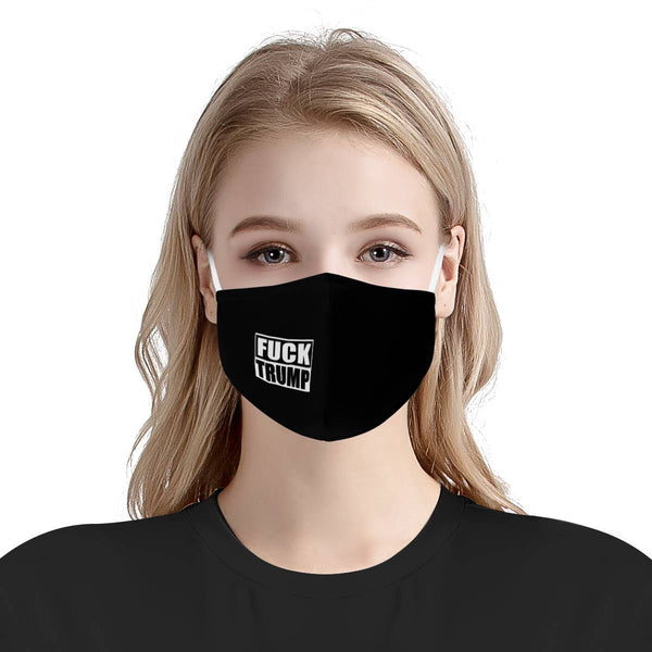 F TRUMP BOX BLACK | CDC Rec 3 Layer Face Mask w/ Fitted Nose Wire, Anti Dust Filters, Reusable, Adjustable Straps (Handmade)