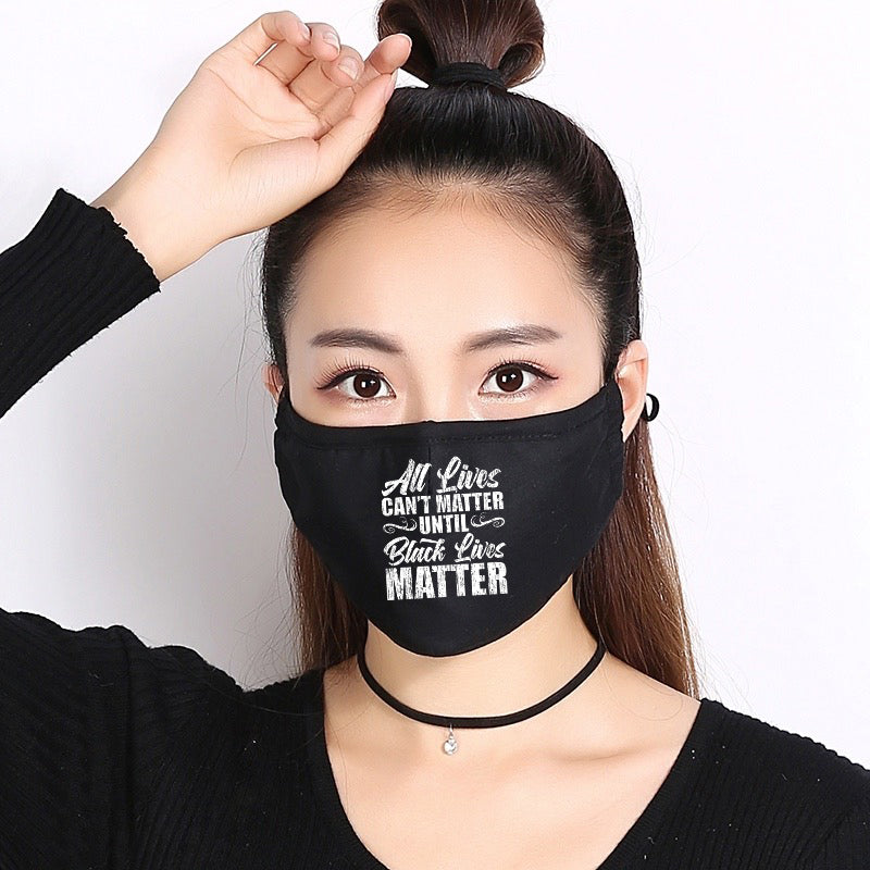 All Lives Can't Matter Until Black Lives Matter | CDC Rec 3 Layer Face Mask w/ Fitted Nose Wire, Anti Dust Filters, Reusable, Adjustable Straps (Handmade)
