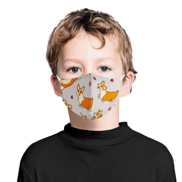 Children Youth Mask Cartoon Corgi Puppy / CDC Rec Triple Layer Face Mask w/ Anti Dust Protection Filters / Handmade, Reusable, Adorable