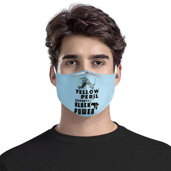 Yellow Peril Supports Black Power Blue | 100% Soft Pima Cotton Triple Layer Face Mask