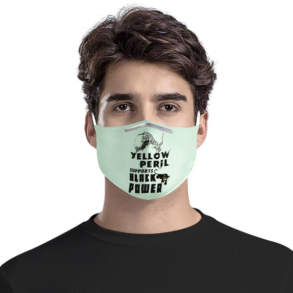 Yellow Peril Supports Black Power Mint | 100% Soft Pima Cotton Triple Layer Face Mask