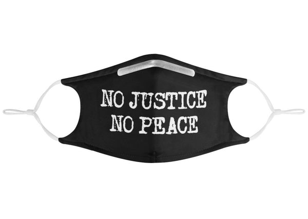 No Justice, No Peace. | CDC Rec 3 Layer Face Mask w/ Fitted Nose Wire, Anti Dust Filters, Reusable, Adjustable Straps (Handmade)