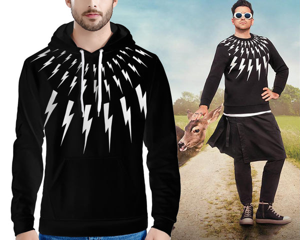 Lightning Bolt (THICK HOODIE) David Rose | Print on Front & Back!