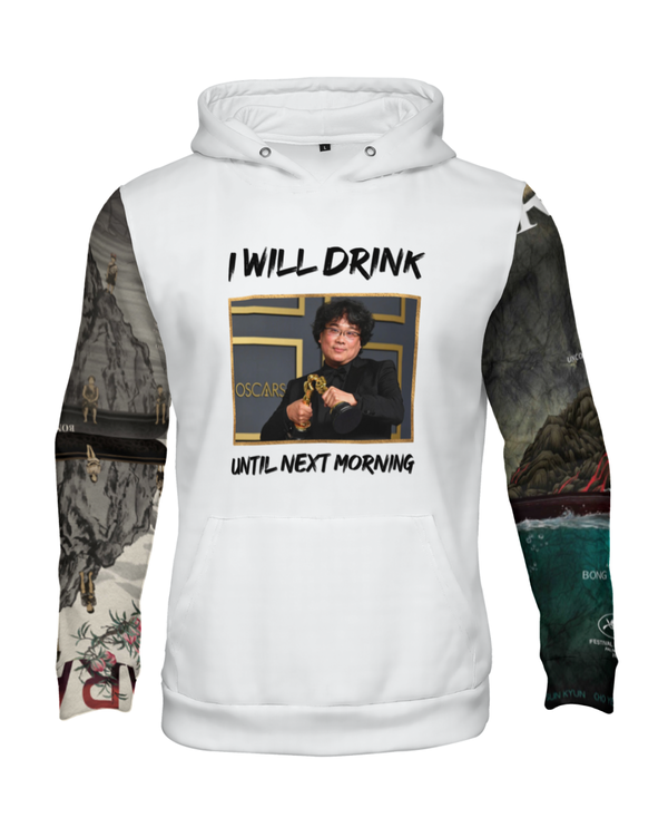 """I Will Drink Until Next Morning"" Graphic Hoodie (White)"