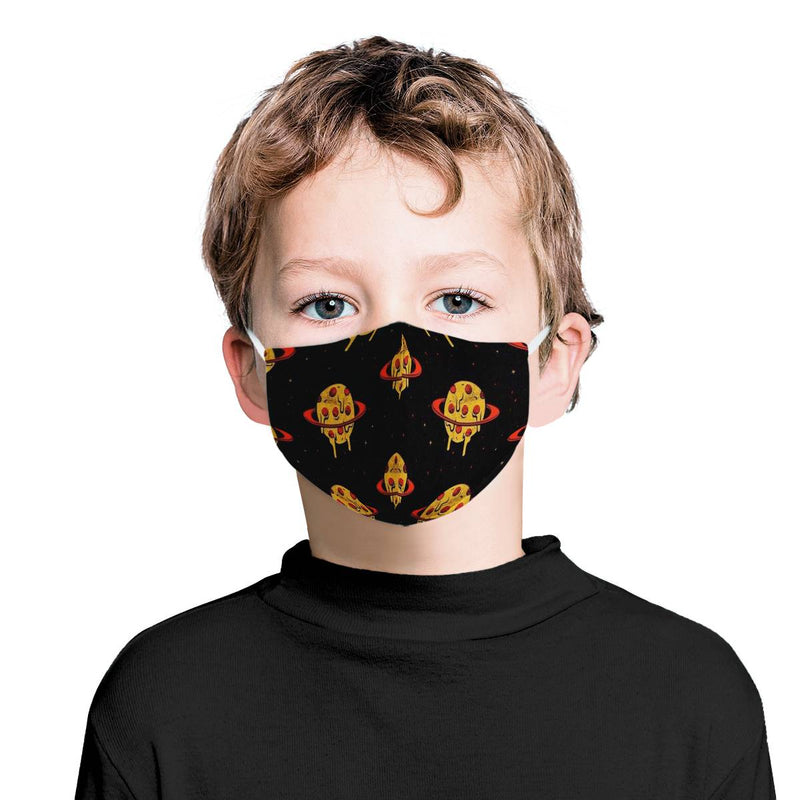 Youth Kids Pizza Planet / Triple Layer Face Mask w/ Fitted Nose Wire, w/ Anti Dust Protection Filters, Reusable, Adjustable Straps