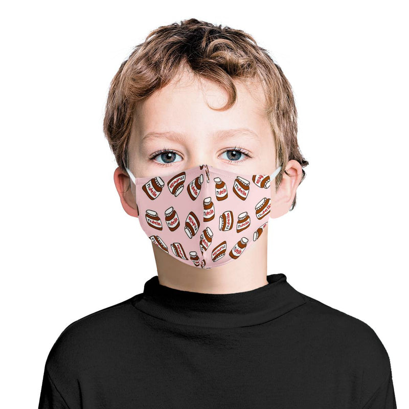 Youth Kids Nutella Mask / Triple Layer Face Mask w/ Fitted Nose Wire, w/ Anti Dust Protection Filters, Reusable, Adjustable Straps