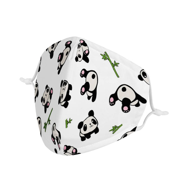 Cute Panda Graphic Pattern | CDC Rec Adult Unisex Triple Layer Face Mask w/ Anti Dust Filters, Reusable, Cute, Stylish (Handmade)