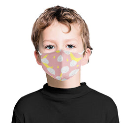 Moon Stars and Clouds Graphic Pattern | CDC Rec Youth Kids Triple Layer Face Mask w/ Anti Dust Filters, Reusable, Cute, Stylish (Handmade)