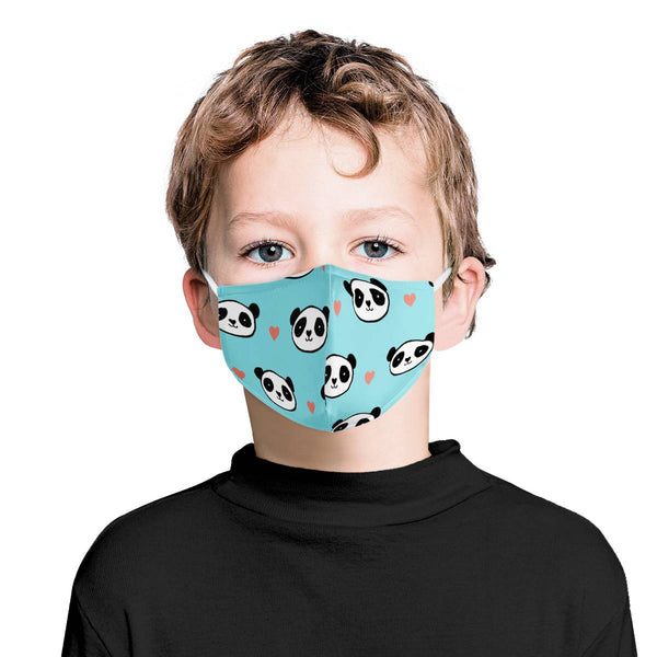 I Love Pandas Youth Kids Mask | Soft & Silky Triple Layer w/ Nose Wire & 4 Filters