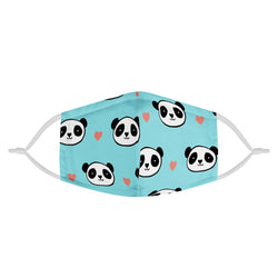 Blue Panda Graphic Pattern Adult Unisex Adorable Face Mask w/ Nose Wire, Free Filters, Handmade