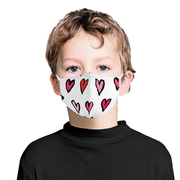 Pink & Red Hearts Graphic Pattern | CDC Rec Youth Kids Triple Layer Face Mask w/ Anti Dust Filters, Reusable, Cute, Stylish (Handmade)