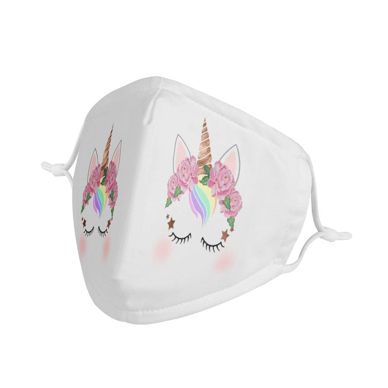Unicorn Graphic Pattern | CDC Rec Youth Kids Triple Layer Face Mask w/ Anti Dust Filters, Reusable, Cute, Stylish (Handmade)