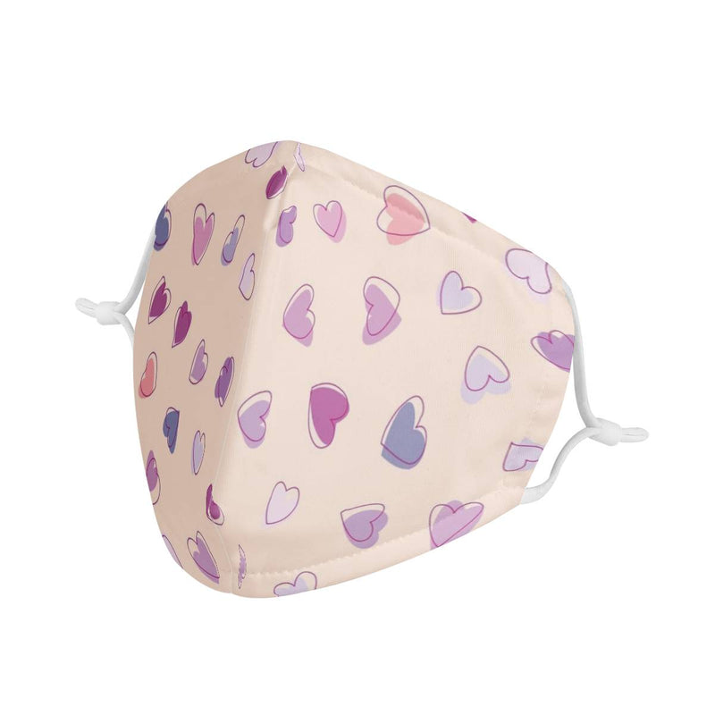 Purple & Pink Hearts Graphic Pattern | CDC Rec Youth Kids Triple Layer Face Mask w/ Anti Dust Filters, Reusable, Cute, Stylish (Handmade)