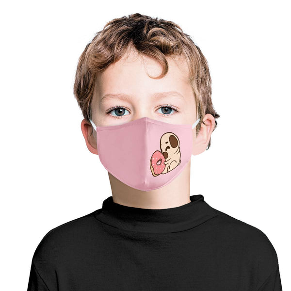 Puppy Loves Donut Youth Kids Mask | Soft & Silky Triple Layer w/ Nose Wire & 4 Filters