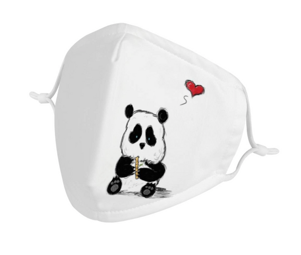 Cartoon Baby Panda Graphic | CDC Rec Youth Kids Triple Layer Face Mask w/ Anti Dust Filters, Reusable, Cute, Stylish (Handmade)