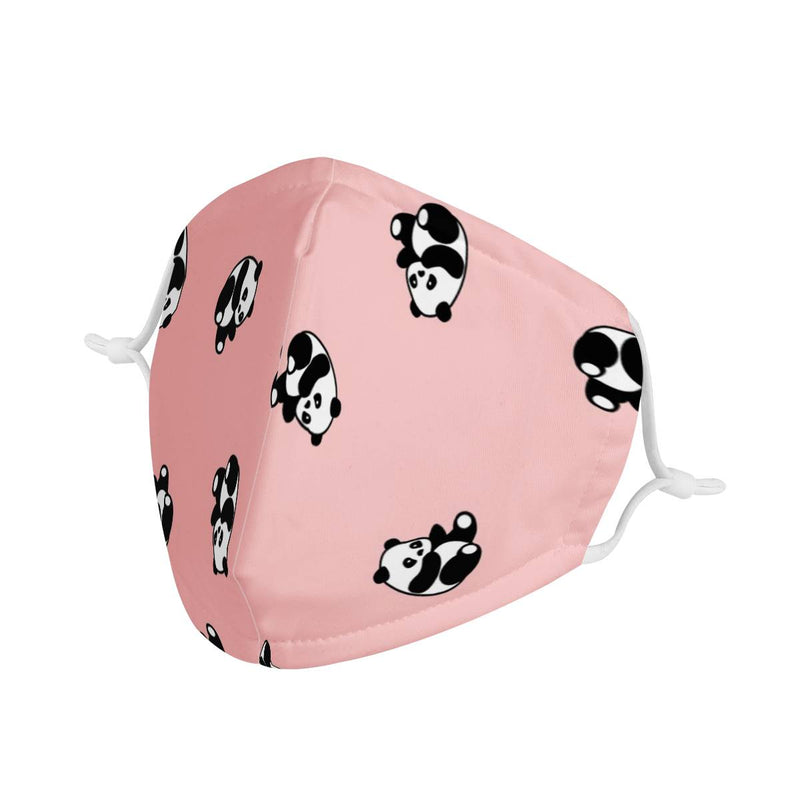 Pink Panda Graphic Pattern | CDC Rec Adult Triple Layer Face Mask w/ Anti Dust Filters, Reusable, Cute, Stylish (Handmade)