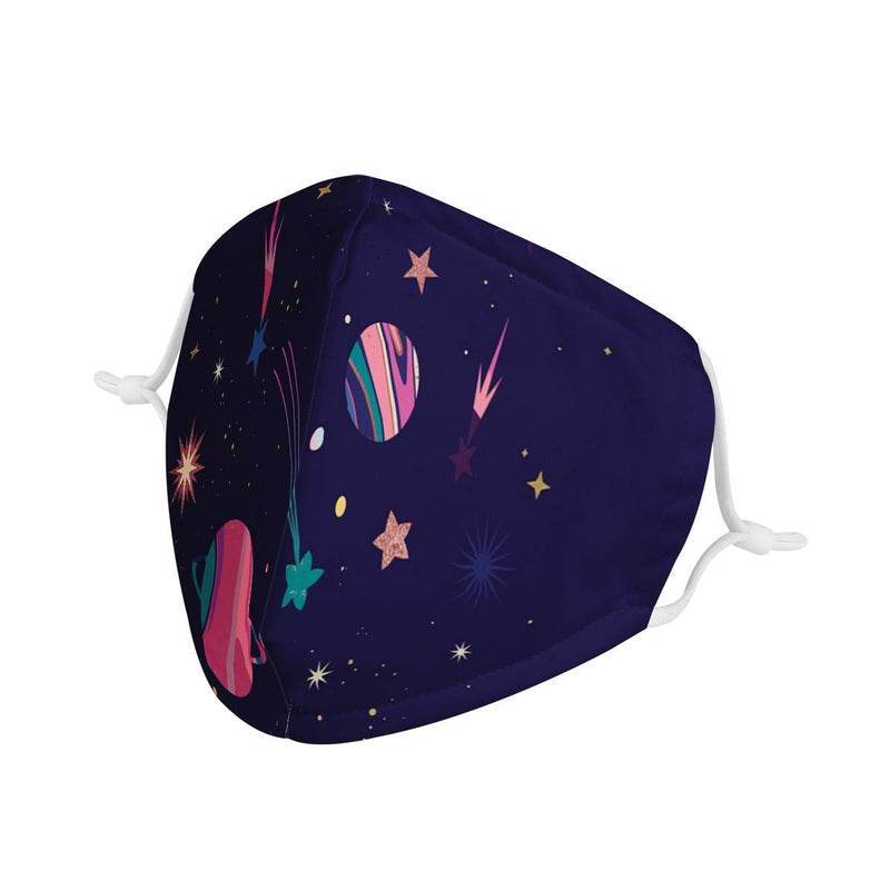 Planets and Galaxies Graphic Pattern | CDC Rec Youth Kids Triple Layer Face Mask w/ Anti Dust Filters, Reusable, Cute, Stylish (Handmade)