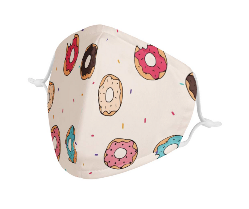 Raining Donuts Youth Kids Mask | Soft & Silky Triple Layer w/ Nose Wire & 4 Filters