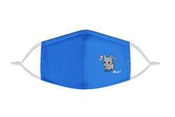 Adults Mask Blue Cute Kitten Cat Mask | CDC Rec 3 Layer Face Mask w/ Fitted Nose Wire, Anti Dust Filters, Reusable, Adjustable Straps (Handmade)