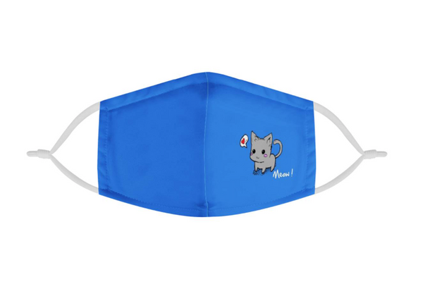 Blue Cute Kitten Cat Youth Kids Mask | CDC Rec 3 Layer Face Mask w/ Fitted Nose Wire, Anti Dust Filters, Reusable, Adjustable Straps (Handmade)
