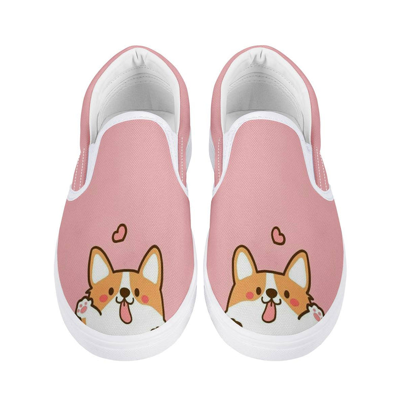 Youth Kids Children's Cartoon Corgi Puppy Slip On Sneaker Shoes / Rubber Outsoles, Cushioned EVA insoles for Comfort, Elastic Stretch,school
