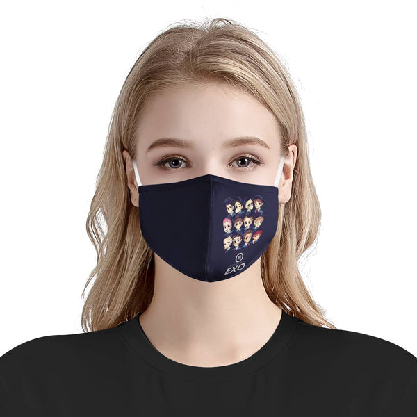 Exo Kpop Mask Anime Cartoon Cute / CDC Rec Fashion Face Mask w/ Anti Dust Protection Filters / Fabric, Handmade, 3 Layer (Handmade)
