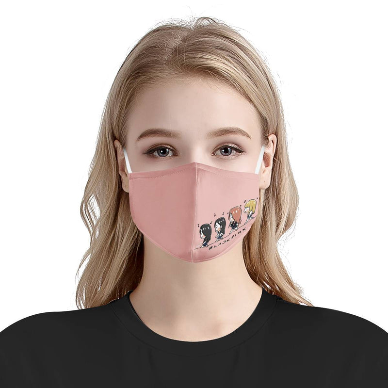 Blackpink Cute Kpop Anime Cartoon / Triple Layer Face Mask w/ Fitted Nose Wire, w/ Anti Dust Filters, Reusable, Adjustable Straps (Handmade)