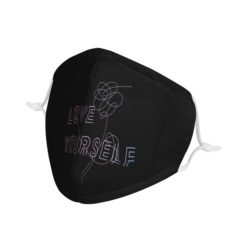 Love Yourself BTS Face Mask / CDC Rec Fashion Face Mask w/ Anti Dust Protection Filters / Fabric, Handmade, 3 Layer