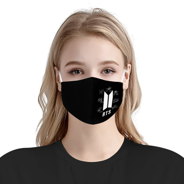 BTS Autograph Print Signed Kpop Mask Fanmade / CDC Rec Fashion Face Mask w/ Anti Dust Protection Filters / Fabric, Handmade, 3 Layer