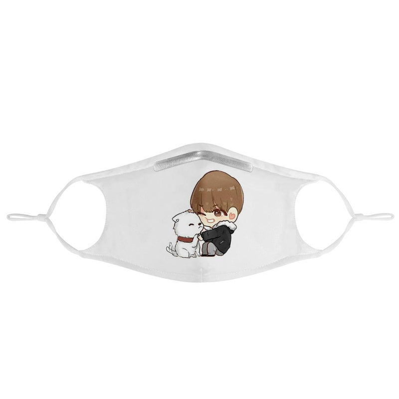 BTS V Taehyung with Puppy Cartoon | Kpop Fashion Streetwear Cotton Face Mask
