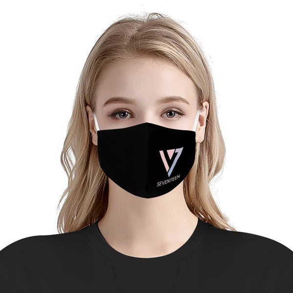 Seventeen Kpop Logo Mask / Triple Layer Face Mask w/ Fitted Nose Wire, w/ Anti Dust Protection Filters, Reusable, Adjustable Straps